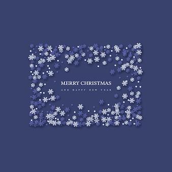 Marco de vacaciones de navidad con copos de nieve de estilo de corte de papel. fondo azul oscuro con texto de saludo, ilustración vectorial.