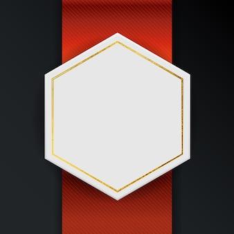 Marco vacío abstracto con cinta roja y elementos dorados