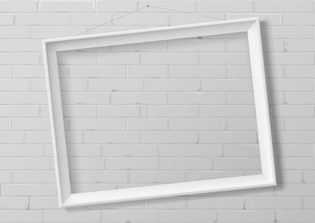 Marco vacío blanco horizontal de madera