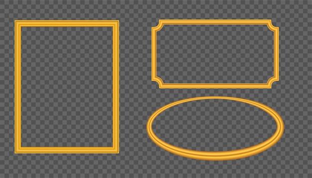 Marco vacío del vector del oro aislado en fondo transparente.