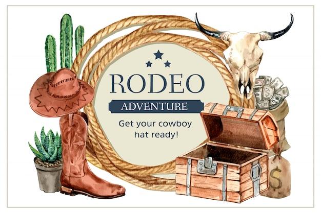Marco de vaquero con cuerda, cactus, botas, sombrero, calavera, dinero