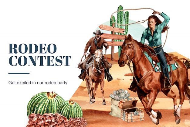 Marco de vaquero con mujer, caballo, cactus, cofre, desierto