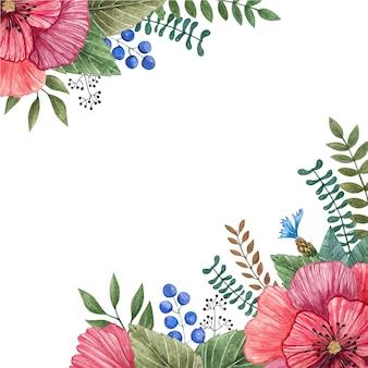 Marco del vector de la acuarela de flores salvajes coloridas.