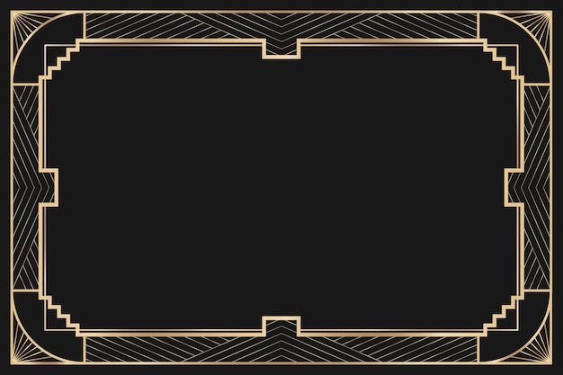 Marco de vector art deco con patrón geométrico sobre fondo oscuro