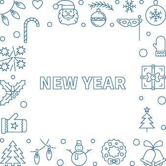 Marco de vector de contorno cuadrado de año nuevo