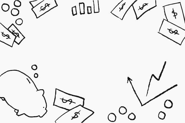 Marco de vector de doodle financiero sobre fondo blanco