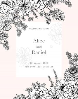 Marco de vector de frontera con flores, hierbas y elementos botánicos en estilo dibujado a mano