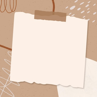 Marco de vector de nota de papel sobre fondo marrón de memphis