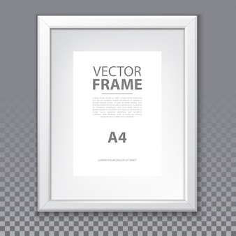 Marco de vector con página a4 y borde de plástico aislado sobre fondo transparente. plantilla de borde de foto o imagen para galería o publicidad, exposición o museo. caja realista vacía para arte