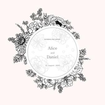Marco de vector redondo con flores, hierbas y elementos botánicos en estilo dibujado a mano