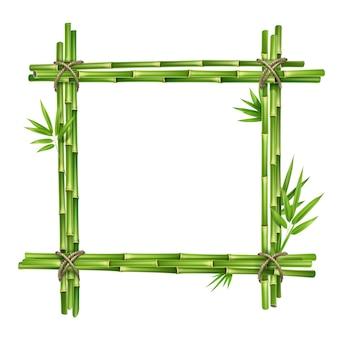 Marco de vector de tallos de bambú y hojas atadas con cuerda aislado sobre fondo blanco.