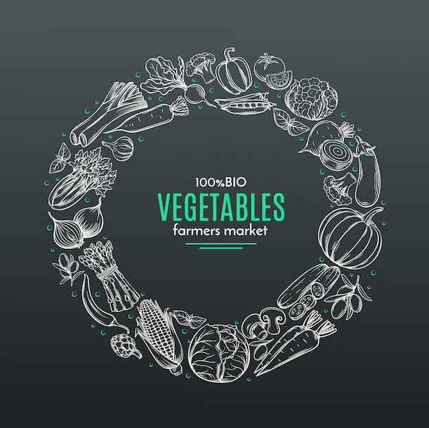 Marco con vegetales dibujados a mano