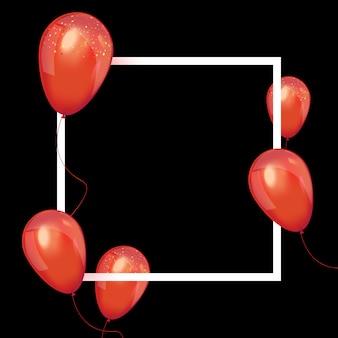 Marco de venta de viernes negro con globos rojos brillantes.
