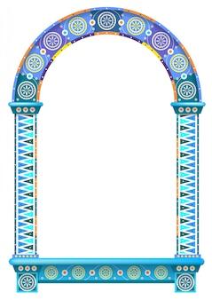 Marco de ventana de puerta de arco ornamental coloreado