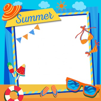 Marco de verano-azul-naranja