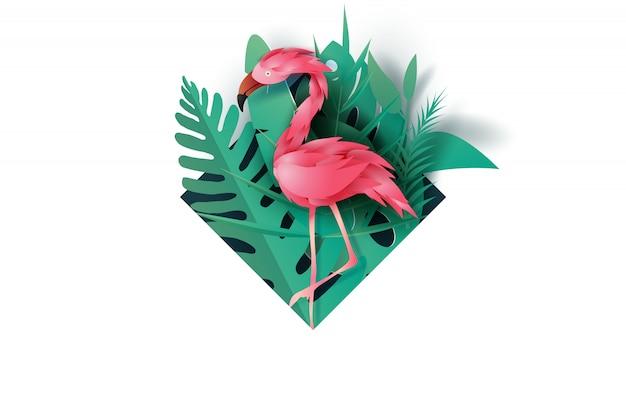 Marco de verano con flamenco rosado en hoja tropical