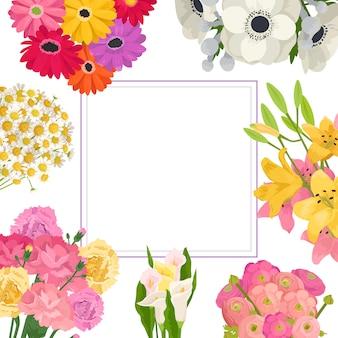 Marco de verano floral de ramos de flores de jardín de anémona rosa, roja y amarilla, manzanilla y lirio, copia.