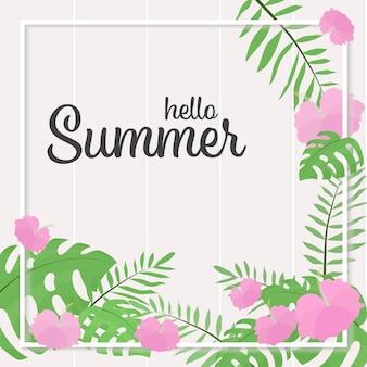 Marco de verano de flores de hibisco rosa