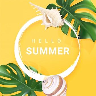 Marco de verano tropical con texto hola verano