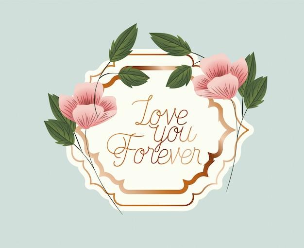 Marco victoriano de amor con flores