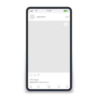 Marco de video por plantilla de redes sociales en la ilustración de vector de teléfono inteligente de pantalla