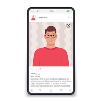 Marco de video por plantilla de redes sociales en la pantalla del teléfono inteligente icono masculino ilustración vectorial