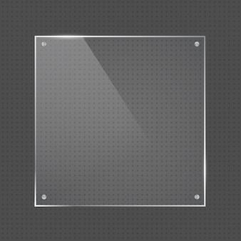 Marco de vidrio de forma cuadrada de vector con clavos