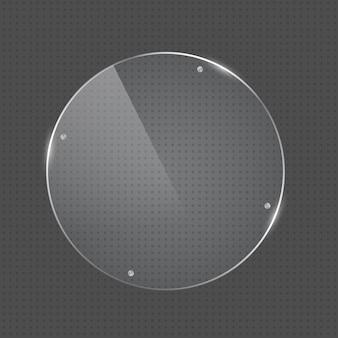 Marco de vidrio de forma redonda de vector con clavos