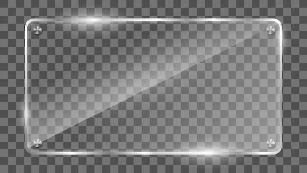 Marco de vidrio rectangular, banner de vidrio reflectante.