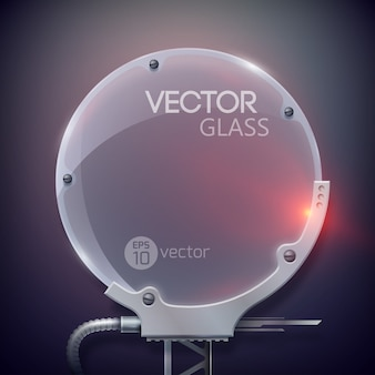 Marco de vidrio redondo realista con cables
