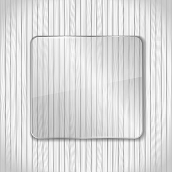 Marco de vidrio sobre fondo blanco de madera