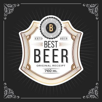 Marco vintage clásico para banner de etiquetas de cerveza