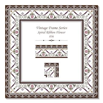 Marco vintage de flor de cinta de cruz en espiral de jardín