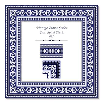 Marco vintage de geometría aborigen cruz azul verificación en espiral