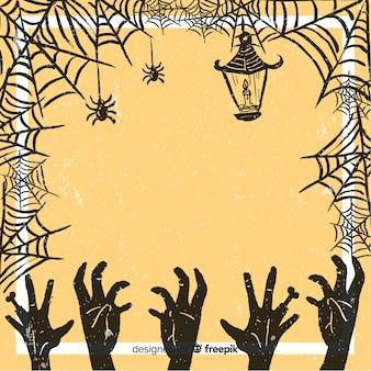 Marco vintage de halloween con tela de araña
