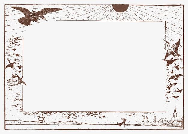Marco vintage de pájaro y luz del sol, remezcla de obras de arte de theo van hoytema