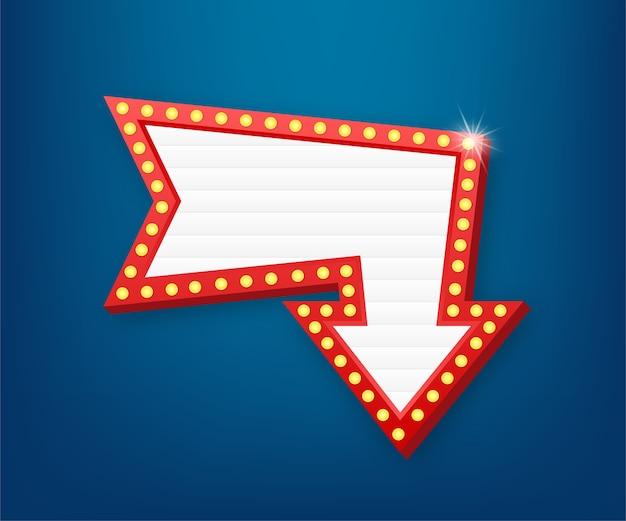 Marco vintage retro de la cartelera de la caja de luz. lightbox con personalizable. banner clásico para sus proyectos o publicidad.