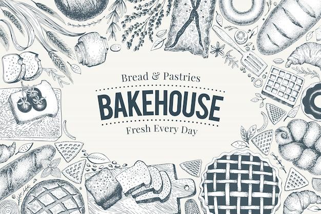 Marco de vista superior de panadería. dibujado a mano ilustración vectorial con pan y pastelería.