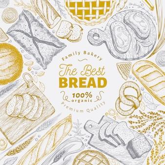 Marco de vista superior de panadería.