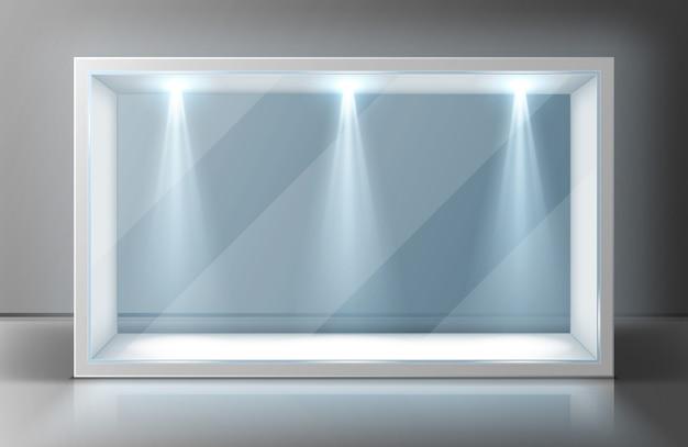 Marco de vitrina de pared de vidrio en exposición vacía