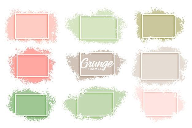 Marcos abstractos grunge color pastel conjunto de nueve