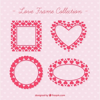 Marcos de amor hechos de corazones