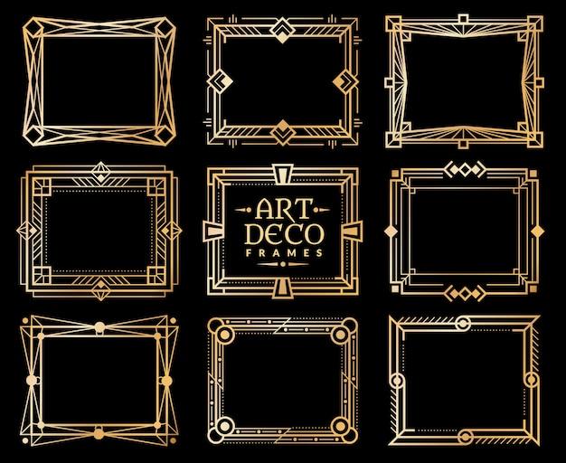 Marcos art deco. borde de marco dorado gatsby deco. elementos de vector de diseño de arte de lujo retro de 1920