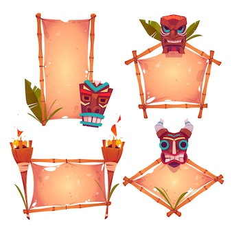 Marcos de bambú con máscaras tiki, pergamino antiguo y antorchas encendidas