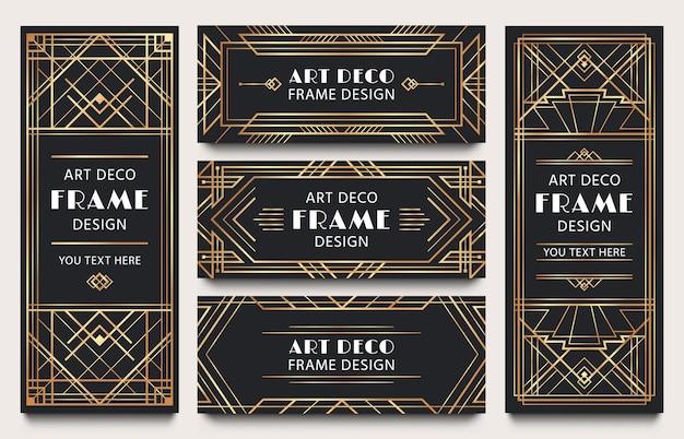 Marcos de banner art deco de oro. marco de líneas geométricas doradas, esquinas decorativas de lujo y etiqueta premium.