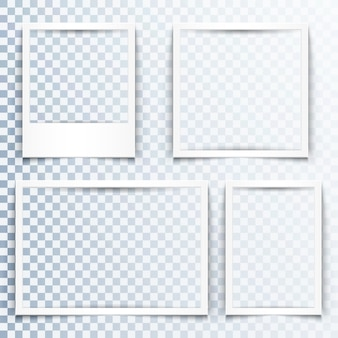Marcos blancos en blanco con efecto de sombra realista