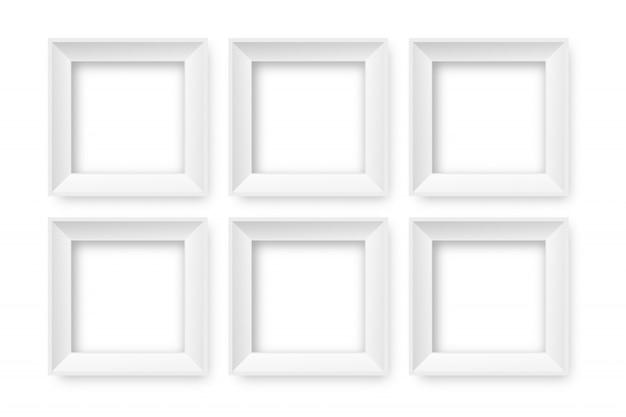 Marcos blancos de papel realista sobre el fondo transparente para decoración e identidad corporativa.