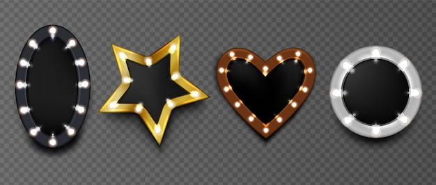 Marcos con bombillas en tablero negro aislado. espejo de maquillaje redondo, con forma de estrella y corazón