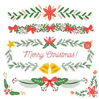 Marcos y bordes dibujados a mano de navidad