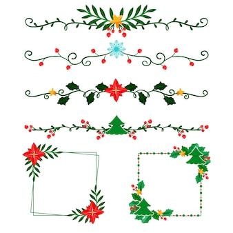 Marcos y bordes para navidad en diseño plano